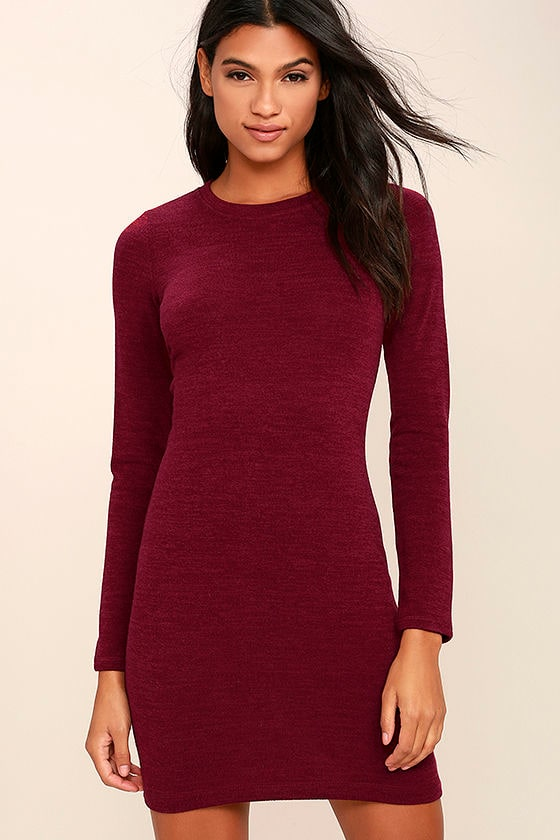 In the Simpli-City Burgundy Sweater Dress 1