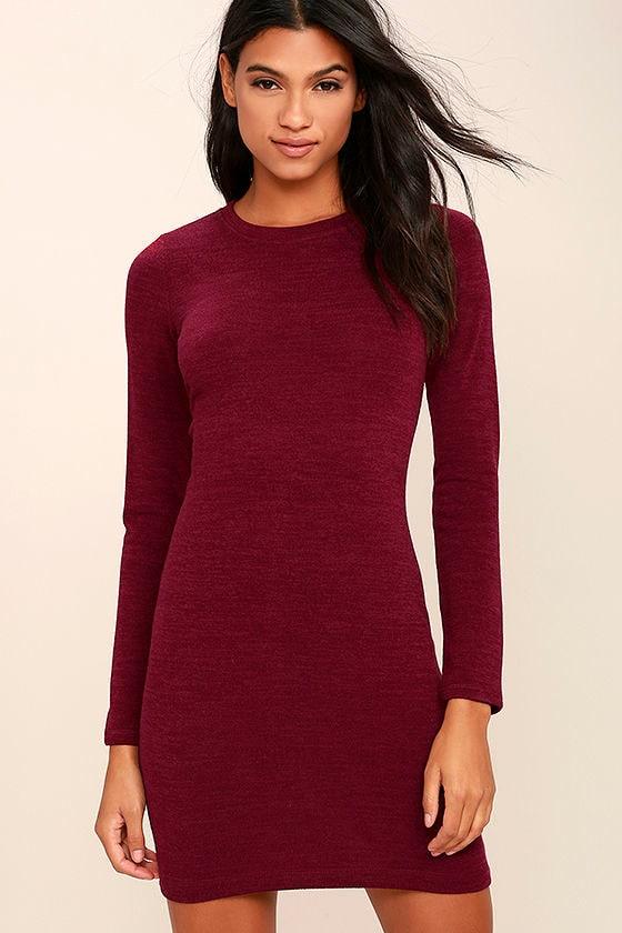 Cute Burgundy Dress - Marl Knit Dress - Sweater Dress -  42.00 9a27f04e1365