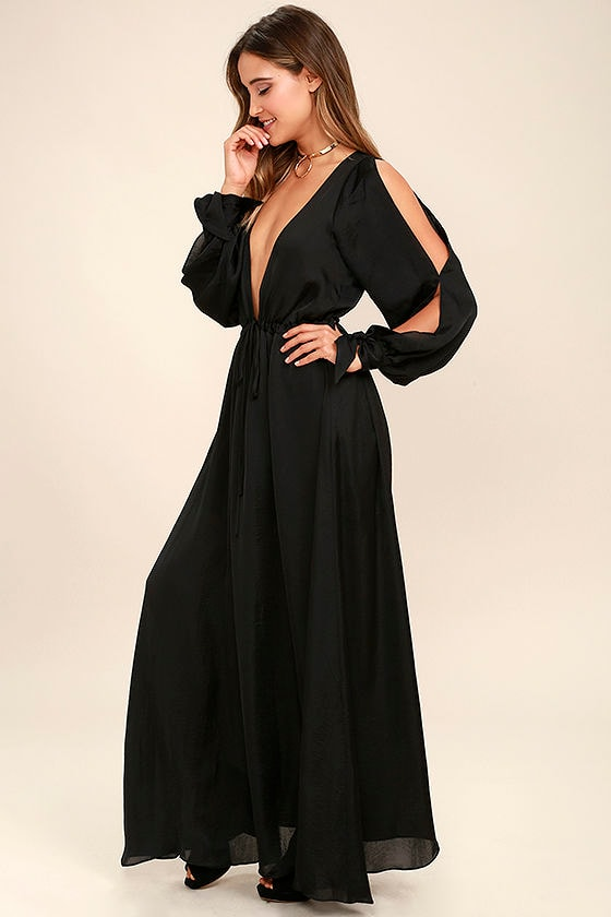 Chic Black Dress - Maxi Dress - Satin Dress - Cold Shoulder Dress ...