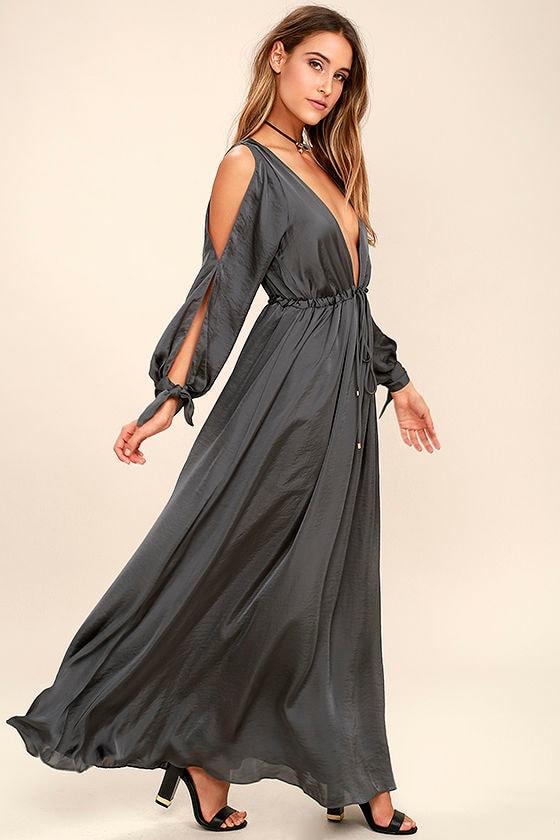 Chic Charcoal Grey Dress - Maxi Dress - Satin Dress - Sheer Dress - $94.00