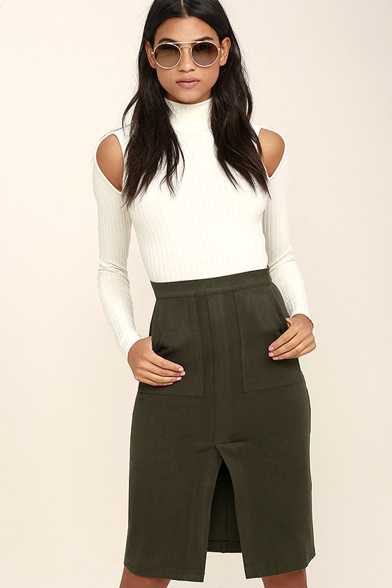 2dbe7f9f0 Cute Olive Green Skirt - Felted Pencil Skirt - Stretchy Pencil Skirt -  $67.00