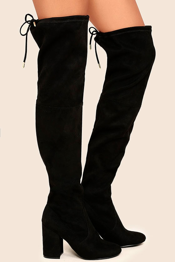 23dfaeeb27d Steve Madden Norri Boots - Black Suede Boots - Over the Knee Boots ...