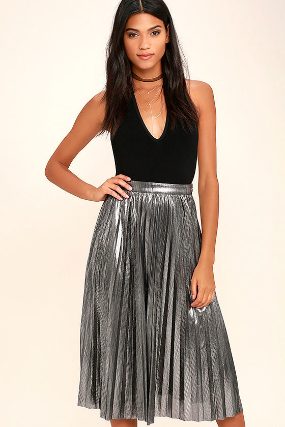 Stunning Silver Midi Skirt - Pleated Midi Skirt - Metallic Midi ...