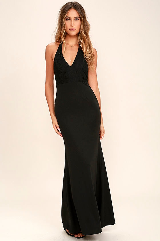 Lovely Black Dress - Halter Dress - Maxi Dress - Lace Dress - $84.00
