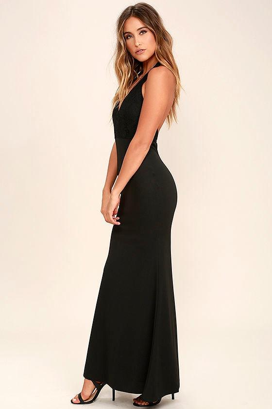 Lovely Black Dress - Halter Dress - Maxi Dress - Lace Dress - $84.00