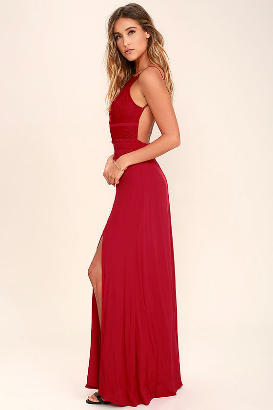 NBD Stephania Dress - Red Lace Maxi Dress - Backless Maxi Dress ...