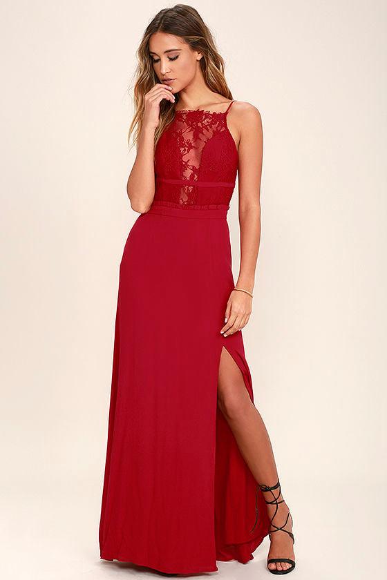 9ee8a054c2 NBD Stephania Dress - Red Lace Maxi Dress - Backless Maxi Dress -  197.00