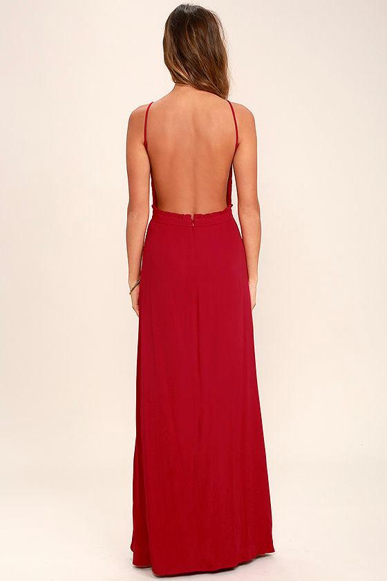 NBD Stephania Red Lace Backless Maxi Dress 4