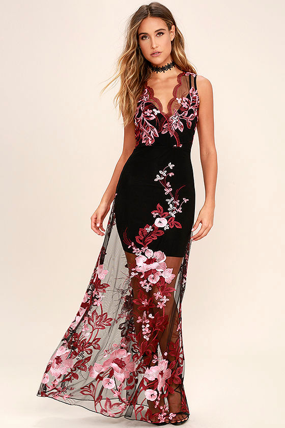 Lovely Embroidered Maxi Dress - Wine Red and Black Dress - Sheer ...