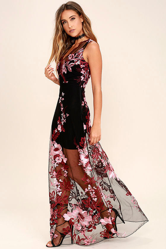 Lovely embroidered maxi dress wine red and black