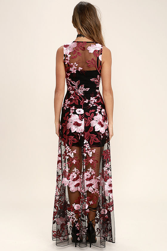 Work the Bloom Wine Red and Black Embroidered Maxi Dress 4