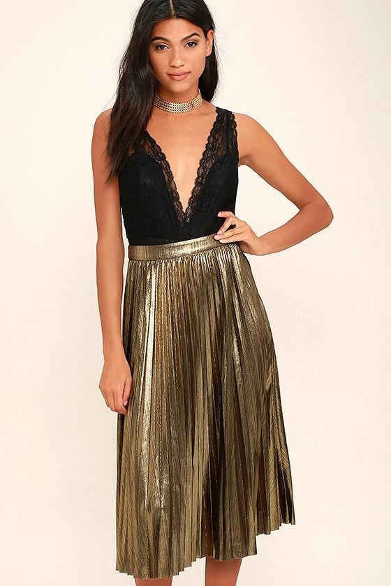 Stunning Gold Midi Skirt Pleated Midi Skirt Metallic