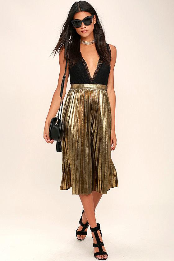8834d0456 Stunning Gold Midi Skirt - Pleated Midi Skirt - Metallic Midi Skirt ...