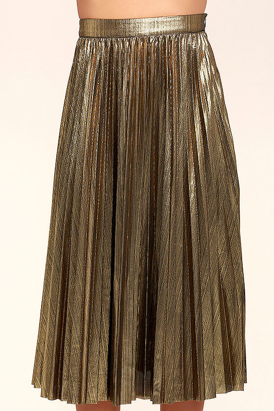 Stunning Gold Midi Skirt - Pleated Midi Skirt - Metallic Midi ...