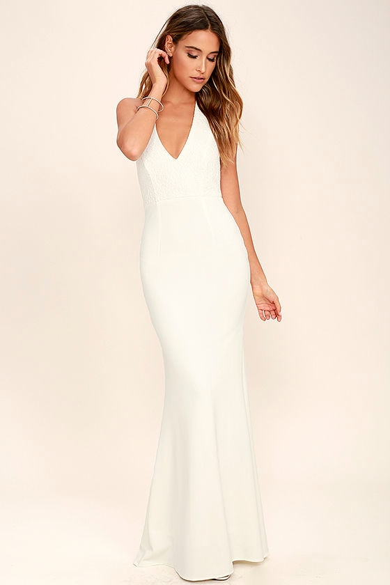 Love Potion Ivory Lace Halter Maxi Dress 1