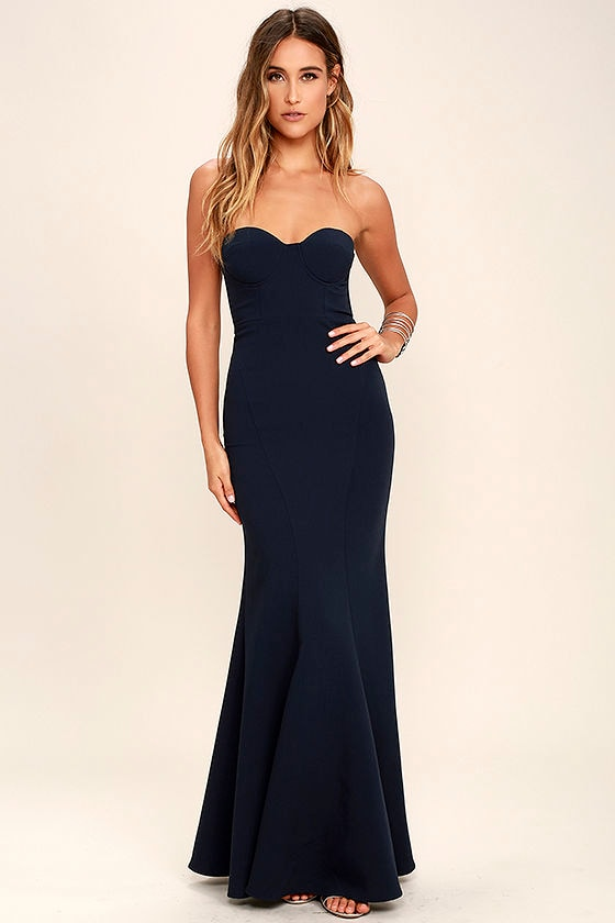 Lovely Navy Blue Dress - Maxi Dress - Strapless Dress - $84.00