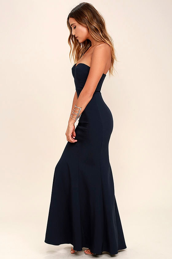 2cf2edd1bb Lovely Navy Blue Dress - Maxi Dress - Strapless Dress -  84.00