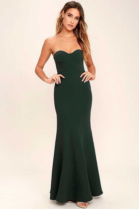 Lovely Forest Green Dress Maxi Dress Strapless Dress