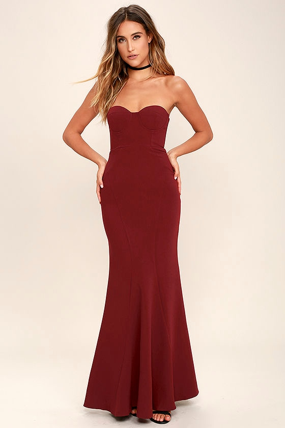Lovely Burgundy Dress - Maxi Dress - Strapless Dress - $84.00