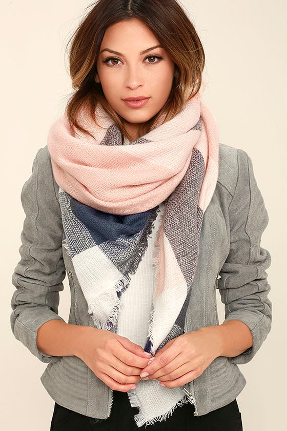 Cozy Pink Print Scarf Pink Plaid Scarf Blanket Scarf