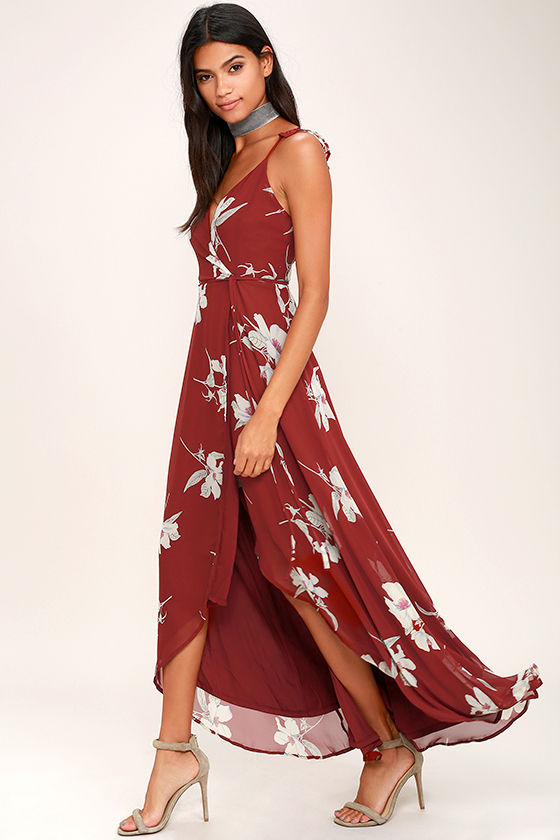 02308c5fc08 Lovely Wine Red Floral Print Dress - Wrap Dress - High-Low Dress ...