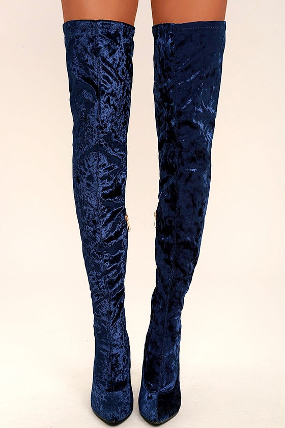 Lovely Royal Blue Thigh High Boots - Velvet Boots - OTK Boots - $49.00