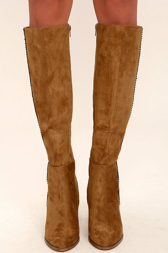 85b7efe028b4 Chic Tan Suede Boots - Knee High Boots - Vegan Suede Boots -  46.00
