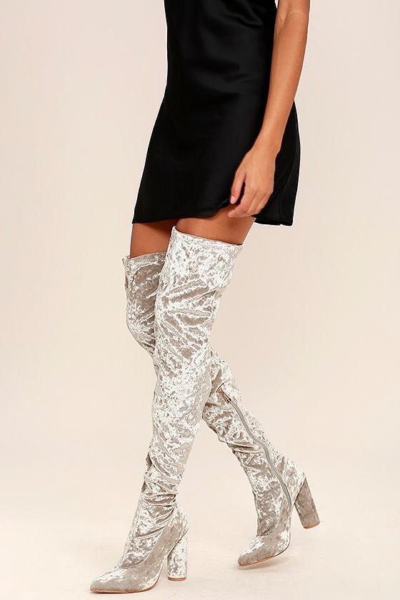 lovely grey thigh high boots velvet boots otk boots