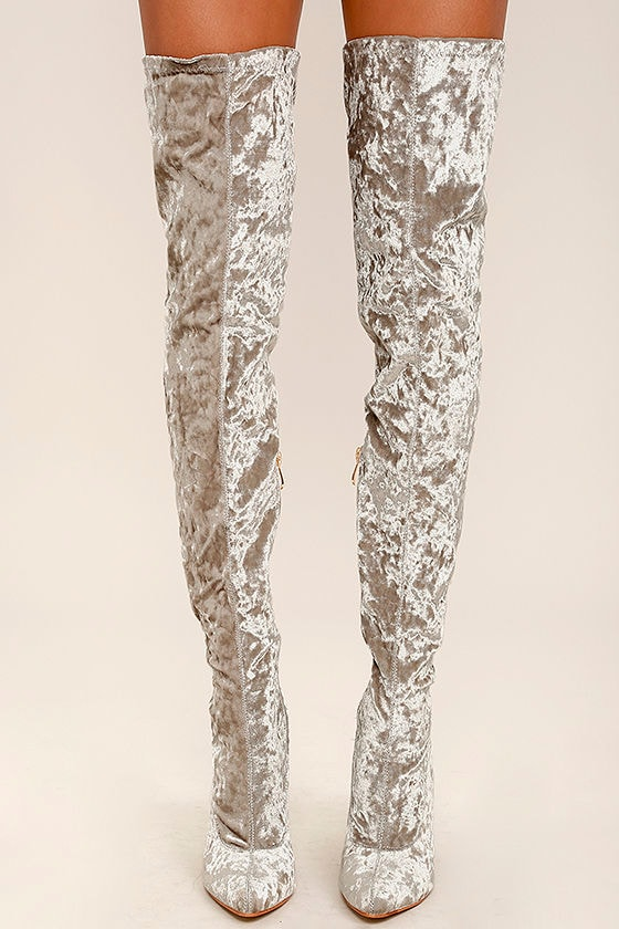 Lovely Grey Thigh High Boots - Velvet Boots - OTK Boots - $49.00