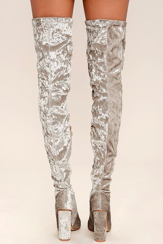 Julia Grey Velvet Thigh High Boots 4