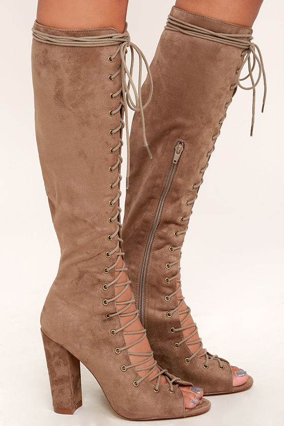 93a26d6f1c5 Sexy Taupe Suede Boots - Knee High Boots - Lace-Up Boots -  49.00