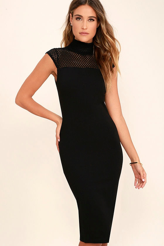 Sexy Black Dress - Mesh Dress - Midi Dress - Bodycon Dress - $54.00