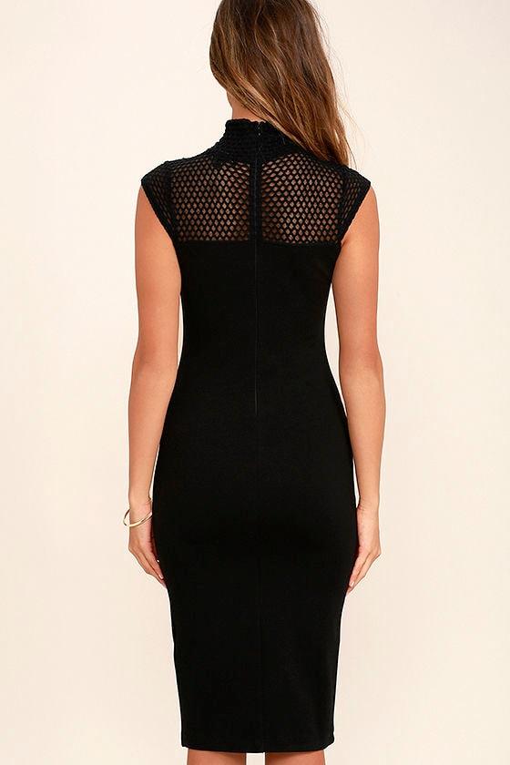 Detail Therapy Black Bodycon Midi Dress 4