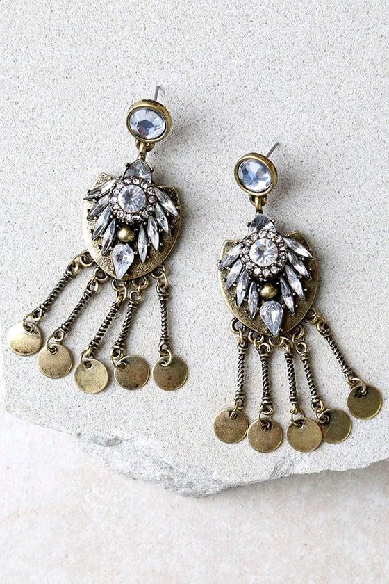 Lover of the Light Gold Rhinestone Earrings 1
