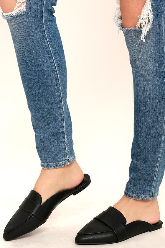 Chic Black Slides Loafer Slides Pointed Toe Slides