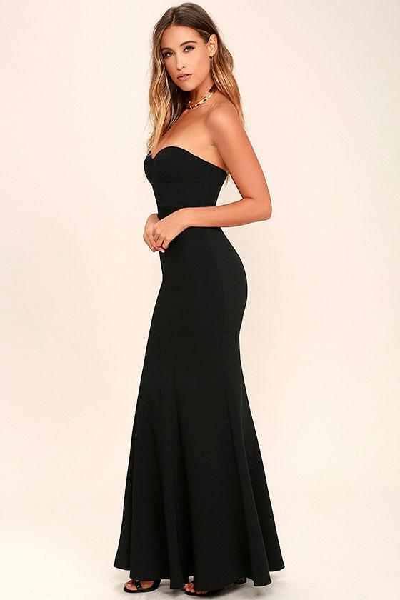 Lovely Black Dress - Maxi Dress - Strapless Dress - $84.00