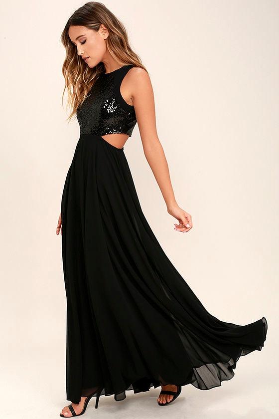 Stunning Sequin Dress - Black Maxi Dress - Cutout Maxi Dress - $84.00