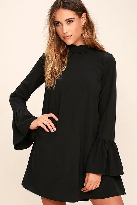 Chic Black Dress - Shift Dress - Bell Sleeve Dress - $54.00