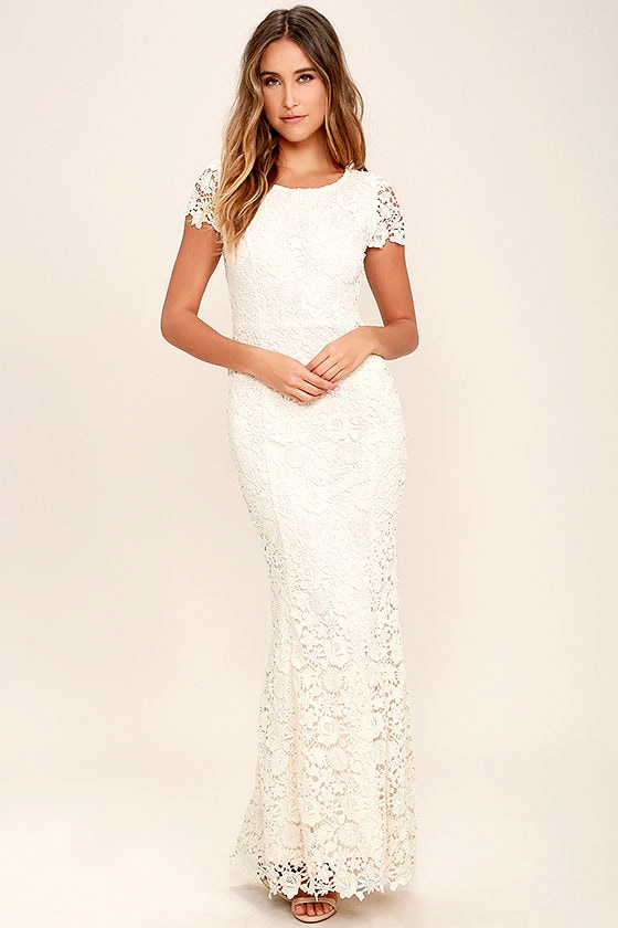 d39a04adb9 Beautiful Cream Lace Dress - Backless Bodycon Dress