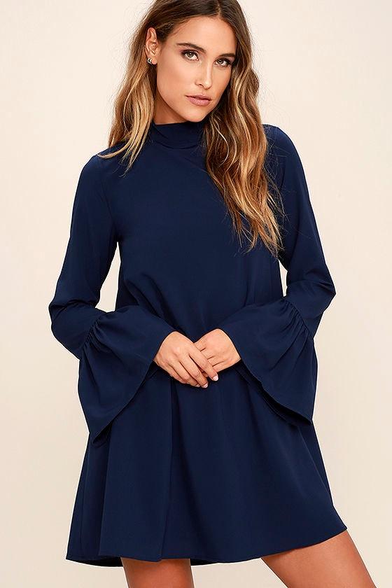 Chic Navy Blue Dress - Shift Dress - Bell Sleeve Dress - $54.00