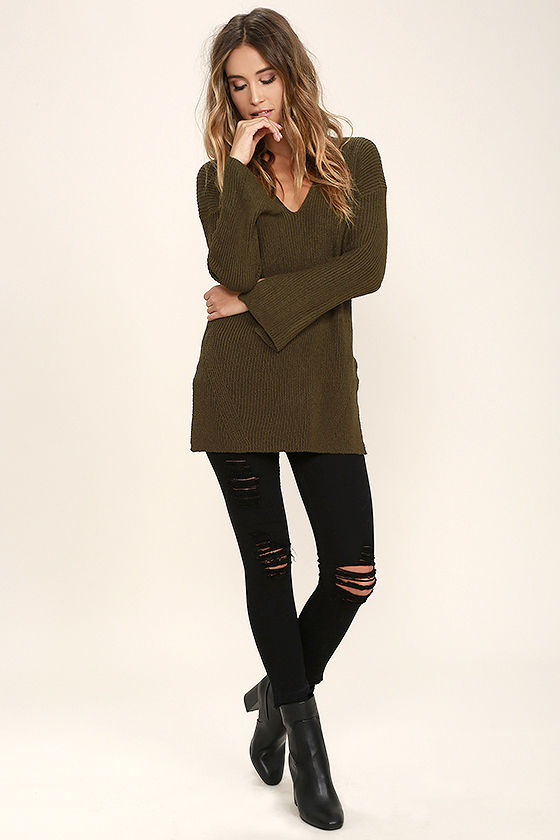 Chill Zone Olive Green Backless Sweater 2