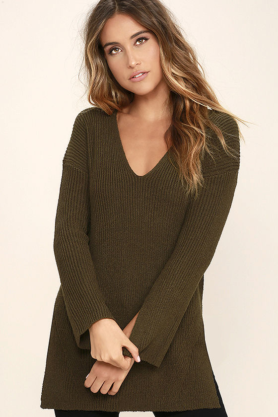 Chill Zone Olive Green Backless Sweater 3