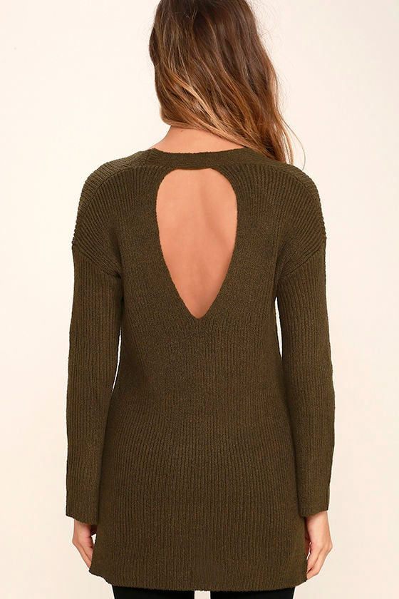Chill Zone Olive Green Backless Sweater 4