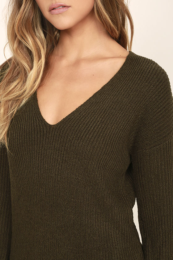 Chill Zone Olive Green Backless Sweater 5