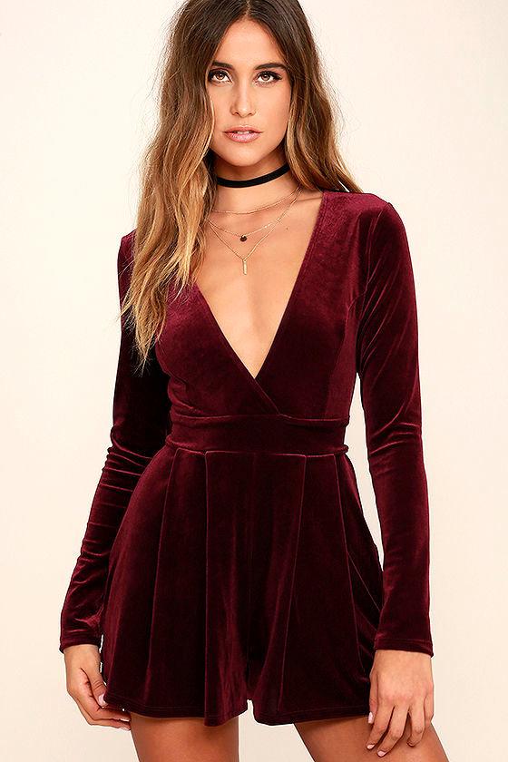 Sexy Burgundy Romper - Velvet Romper - Long Sleeve Romper - $58.00
