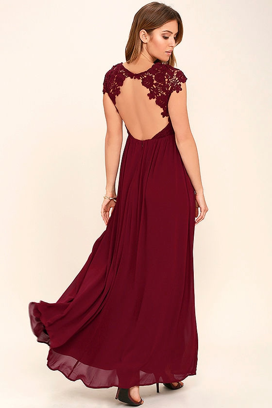 Lovely Burgundy Dress Lace Dress Maxi Dress 86 00