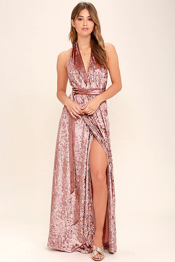 Stunning Blush Maxi Dress - Velvet Maxi - Wrap Dress - Halter ...