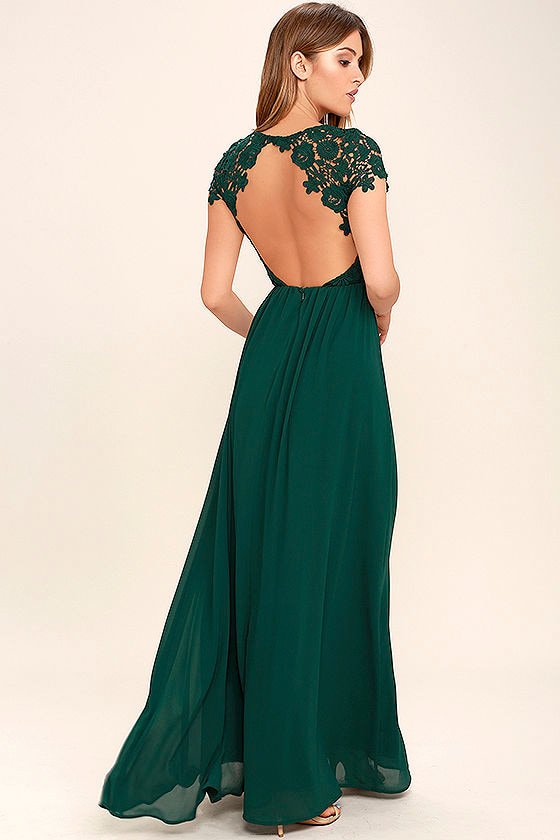 Lovely Forest Green Dress Lace Dress Maxi Dress 8600