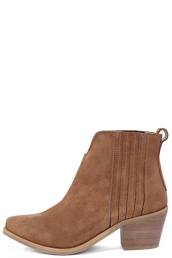 dedef7064d0 Steve Madden Webster Booties - Tan Suede Leather Boots - Ankle ...