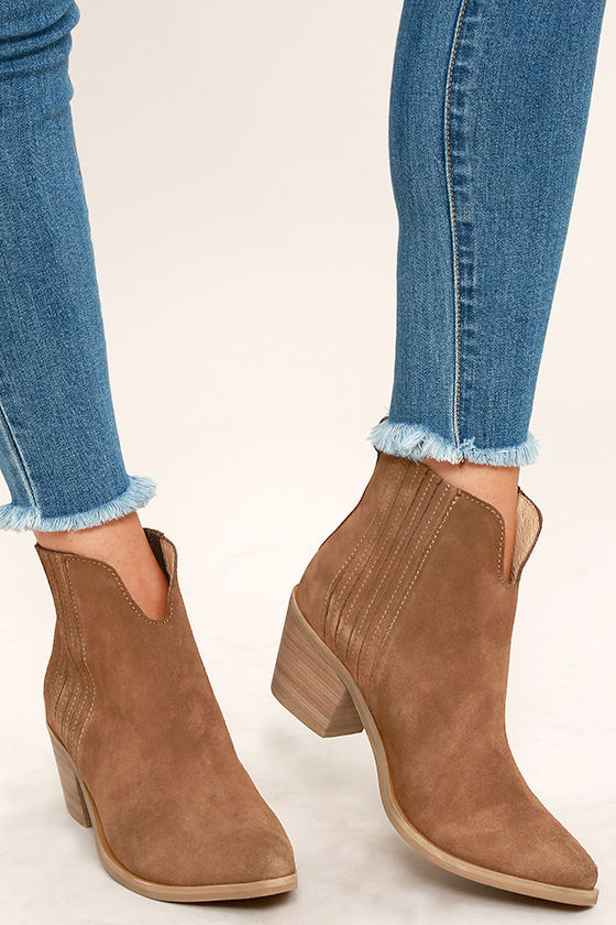 1754df40411 Steve Madden Webster Booties - Tan Suede Leather Boots - Ankle Booties -   129.00